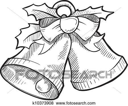 clip art of christmas bells sketch k10373908 search clipart