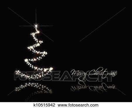 Christmas Black Card With Gold Tree Vector Clipart