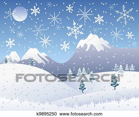 clipart of christmas snow scene k9895250 search clip art