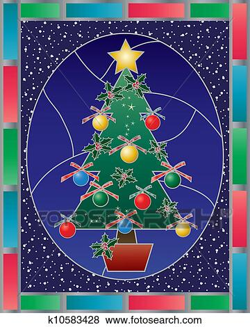 Christmas Stained Glass Clip Art K10583428 Fotosearch