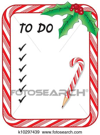 christmas to do list with candy cane frame pencil check marks holly berries isolated on white eps8 compatible