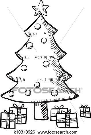 Drawing Christmas Tree Sketch.Christmas Tree Sketch Clip Art