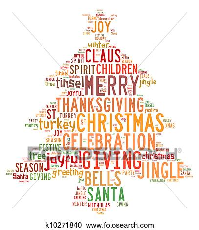 Weihnachtsbilder Word.Christmas Tree Word Clouds In White Background Clipart