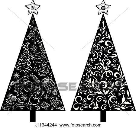Christmas Trees Silhouette.Christmas Trees Silhouette With Pattern Clipart