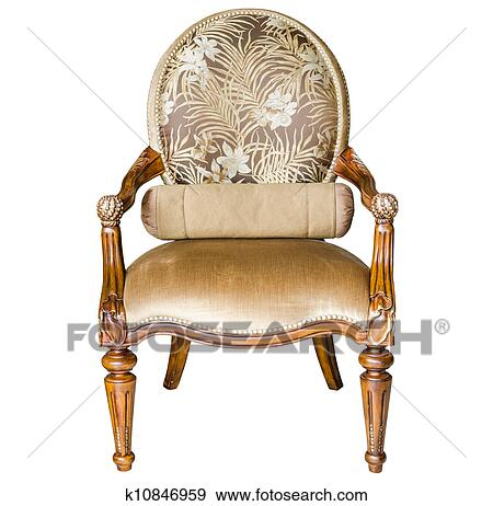 Classic style vintage wooden chair and flower on the table - Stock Photograph Of Classic Style Vintage Wooden Chair K10846959
