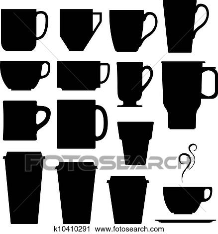 clipart of coffee and tea cup silhouettes k10410291 search clip