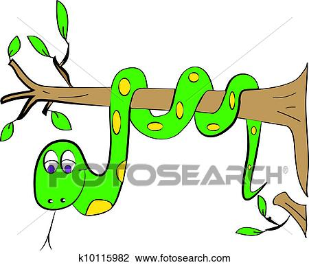 Color Page Snake Tree Drawing K10115982 Fotosearch And depending on the specific kind of tree it is, the top shape will vary… but usually it's circular or ovular in. color page snake tree drawing