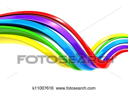 Colorful abstract curve stripe background 3d illustration Stock Illustration