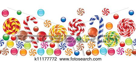 Colorful Candies Fruit Bonbon Lollipop Clipart