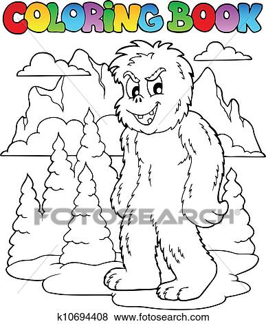 Clip Art Of Coloring Book With Yeti 1 K10694408