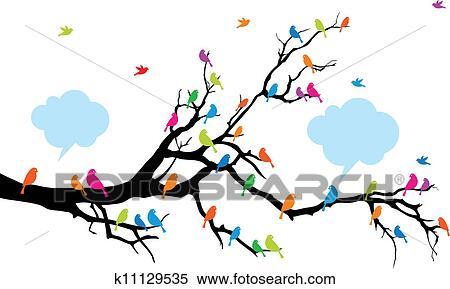 Clipart Couleur Oiseaux Sur Arbre Vecteur K11129535
