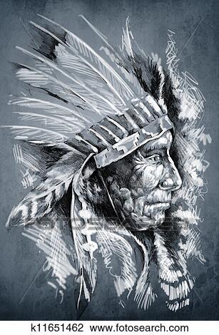 Croquis De Tatouage Art Amérindien Indien Tête Chef Sale Fond Dessin