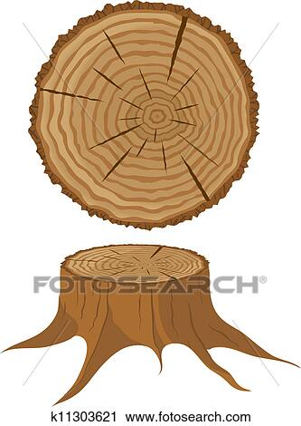 Cross Section Of Tree And Stump Clipart K11303621 Fotosearch