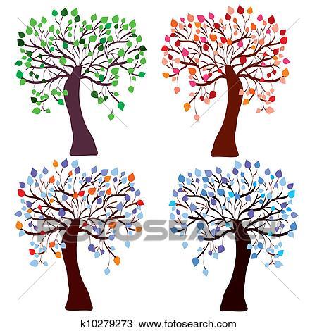 Dibujo Cuatro Estación árboles Conjunto Con Color Hojas
