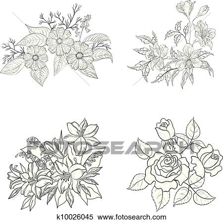 Cultivated flowers, outline, set Clipart
