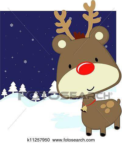 Clipart Of Cute Baby Deer Winter Background K11257950 Search Clip