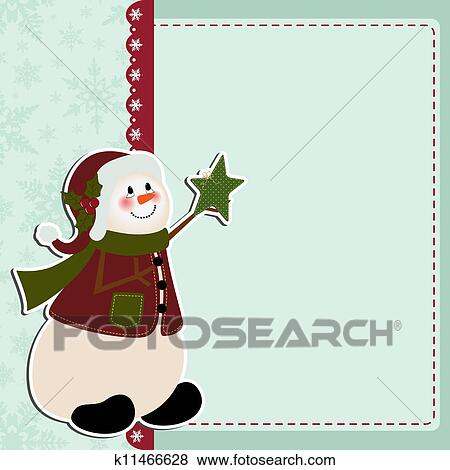 Cute Christmas Postcard Template Clip Art K11466628 Fotosearch