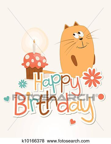 Clip Art Of Cute Happy Birthday Card K10166378 Search Clipart