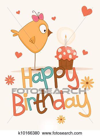 Enjoyable Cute Happy Birthday Card Clipart K10166380 Fotosearch Funny Birthday Cards Online Overcheapnameinfo
