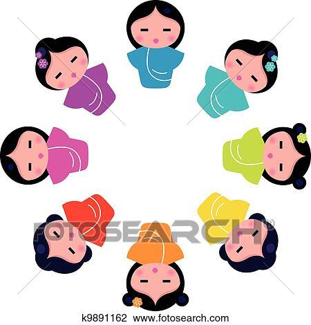 Clipart of Cute japanese kokeshi dolls in circ k9891162 ...