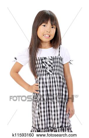 Stock Photography Cute Little Asian Girl Standing Wit Fotosearch Search Stock Photos