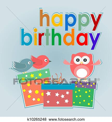 Clip Art Of Cute Owl Birds And Gift Boxes Happy Birthday Card