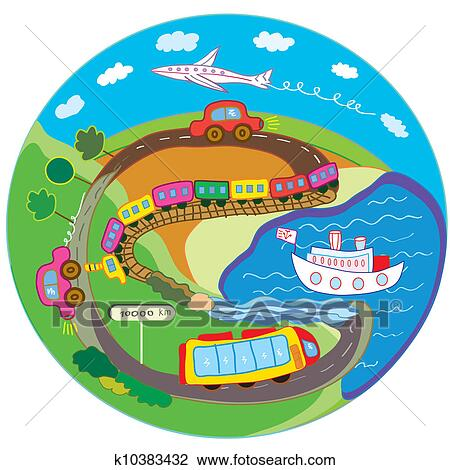 clip art of cute travel concept with transport means k10383432