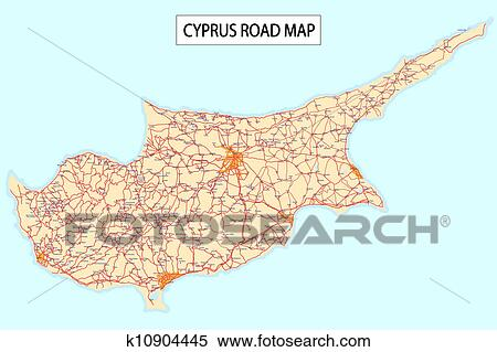Stock Illustration of Cyprus road map k10904445 Search Clipart