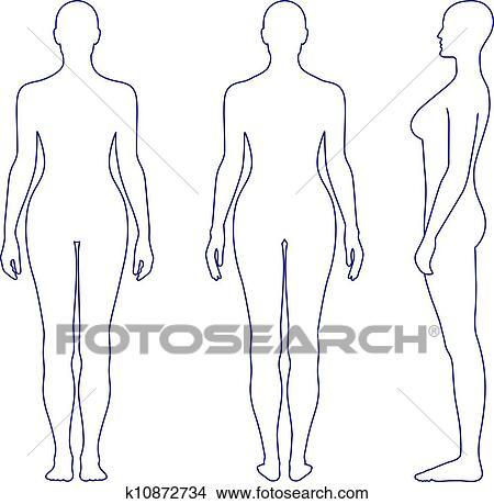 Clipart Denudee Debout Femme Silhouette K10872734 Recherchez