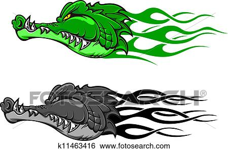 Danger Crocodile Tatouage Clipart