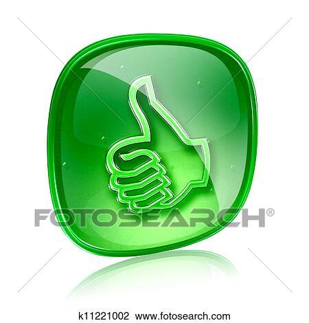 Clip Art - daumen, symbol, grün, glas, zustimmung, geben geste ...