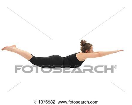 demonstration of advanced yoga posture stock image
