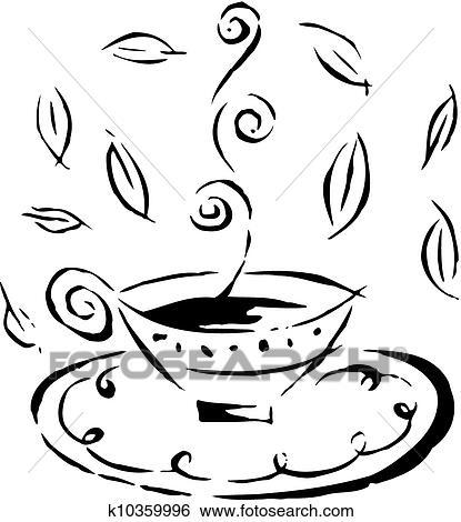 arquivos de ilustração desenho de um quentes xícara chá
