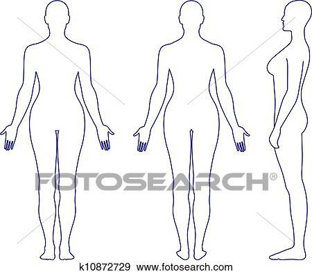 Desnudo Posición Mujer Silueta Clip Art K10872729