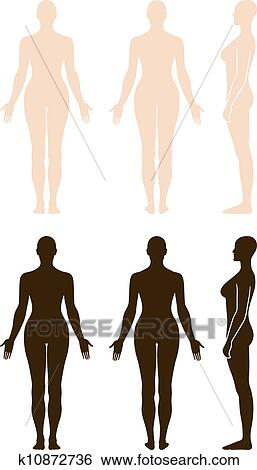 Clip Art Desnudo Posición Mujer Silueta K10872736 Buscar Clip