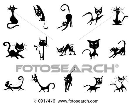 Clipart Dessin Anime Chat Noir Silhouettes K10917476
