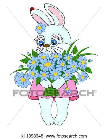 Dessin Anime Lapin A A Grand Bouquet Fleurs Paquerettes Clipart K11398348 Fotosearch