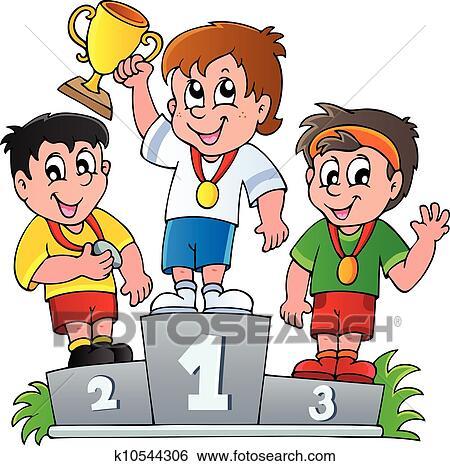 Clipart dessin anim vainqueurs podium k10544306 - Dessin podium ...