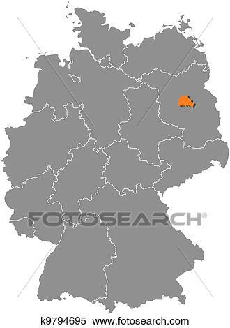 Deutschlandkarte Berlin Hervorgehoben Clipart K9794695