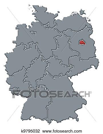 Deutschlandkarte Berlin Hervorgehoben Zeichnung K9795032