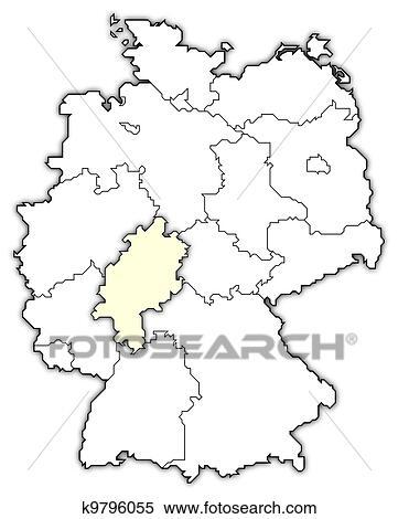 Deutschlandkarte Hessen Hervorgehoben Stock Illustration