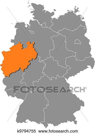 Deutschlandkarte Nordrhein Westfalen Hervorgehoben Clipart