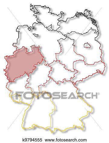 Deutschlandkarte Nordrhein Westfalen Hervorgehoben Stock