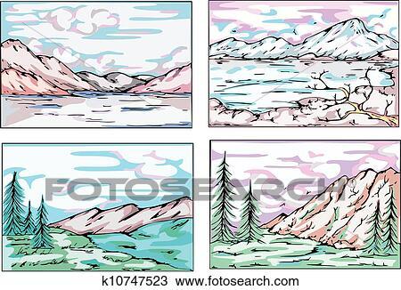 Paesaggio Di Montagna Disegno.Disegni Di Montagna Paesaggi Clipart K10747523 Fotosearch