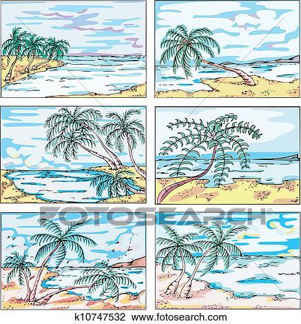 Disegni Di Paesaggi Con Palmizi Su Costa Marittima Clipart