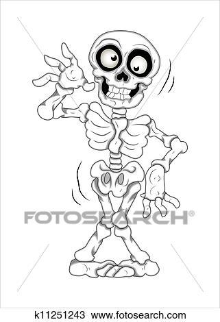 Clipart Divertente Scheletro Vettore Illustrazione K11251243