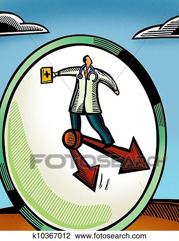 Clip Art Of Doctor Standing On The Hands Of A Clock Face K10367012