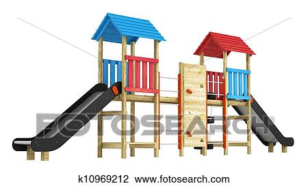 clip art of double slide for childrens playground k10969212 search rh fotosearch com clip art playground equipment clipart playground