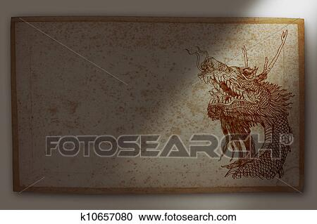 Dragon Over Dirty Background Clipart K10657080 Fotosearch