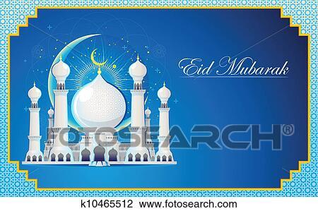 Clipart of eid mubarak greeting card k10465512 search clip art clipart eid mubarak greeting card fotosearch search clip art illustration murals m4hsunfo